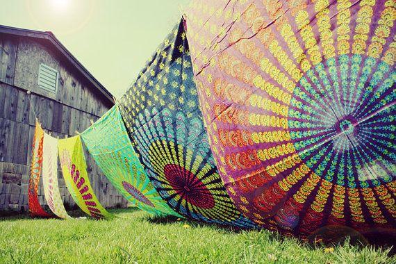 Hand Block Printed Indian Fabric, Purple, Hippie Tapestry, Bohemian Fabric, Chakra, Mandala, Rainbow, Bohemian Wedding, Festival, Summer