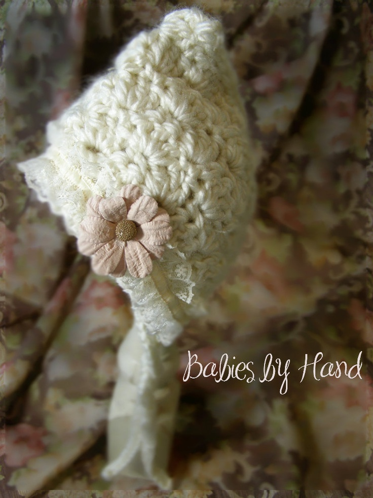 3 to 6 mo Vintage Inspired Crochet Baby  Bonnet, 3 to 6 mo Baby Girl Bonnet Photo Prop Hat, Baby Girl Bonnet, Shabby Chic Baby Bonnet. $20.00, via Etsy.