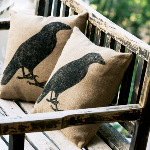 "Quoth the raven, ""You could totally make this burlap pillow."""