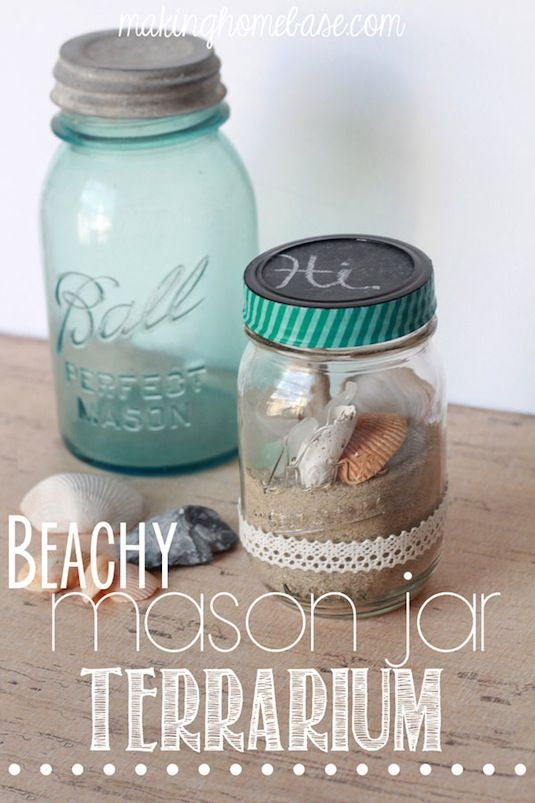 20 Of The Best Mason Jar Projects | A beach bottle keepsake! Perfect place to showcase all of your vacation finds.