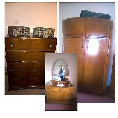 Antique #bedroom furniture set #(wardrobe, dresser and #drawers),  View more on the LINK: 	http://www.zeppy.io/product/gb/2/252757906647/