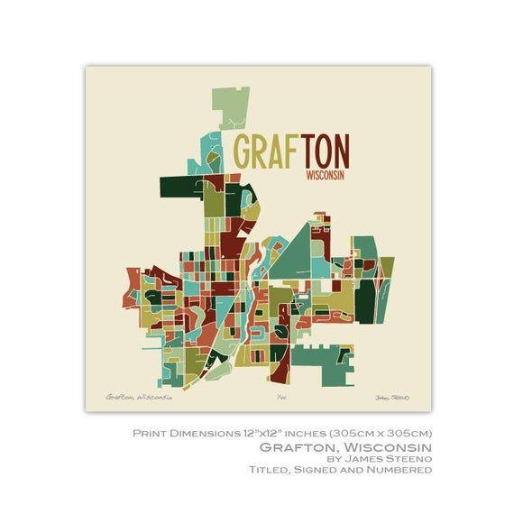 Grafton Wisconsin Art Map Print Ozaukee County By James Etsy In 2020 Wisconsin Art Map Print Map Art
