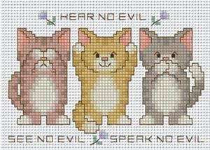Pinn Stitch No Evils Cats - Cross Stitch Kit. Kit contains: 14 count Aida, pre-sorted thread, needle, easy-to-read symbol/colour chart, and clear instructions.