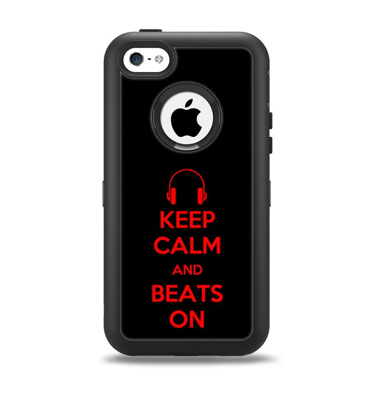 The Keep Calm & Beats On Red Apple iPhone 5c Otterbox Defender Case Skin Set
