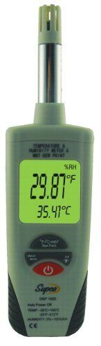 "Supco DSP1000 Digital Psychrometer with Dew Point and Wet Bulb, -22 to 212 Degree F, +/- 0.9 Degree F Accuracy by Supco. $82.00. The DSP1000 provides fast, accurate measurements for analysis of critical environmental conditions. Temperature, Humidity. Wet Bulb Temperature, Dewpoint Temperature, Fast Response, Dual Display, Max Hold, Data Hold Function, No Twirling, No Reading Charts, No Water Necessary. Auto Power Off (Disable Sleep Mode). Backlight, Measures 1.77"" width b..."