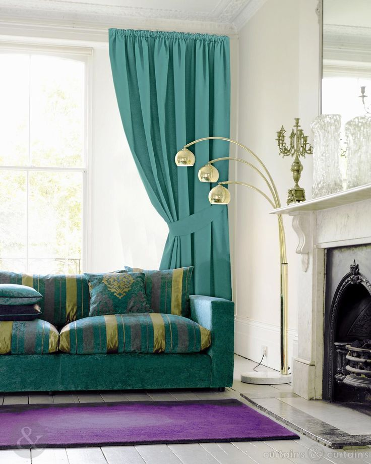 Aqua Blue Cotton Pencil Pleat Curtains