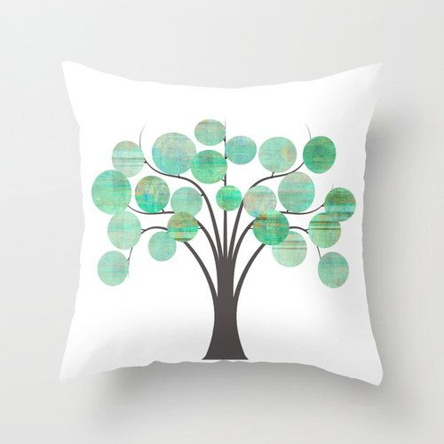 Tree throw pillow seafoam green mint brown white abstract for Seafoam green home decor