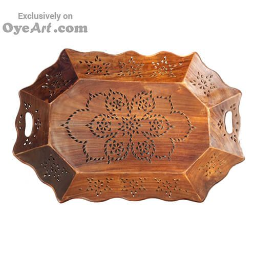 The #Vivid #rectangle #serving #handmade #teak #tray is as #versatile as it is #beautiful, hands carved by #Indian #Craftsman. Use this as a #serving tray for your #indoor or #outdoor needs with its easy #grip handles.