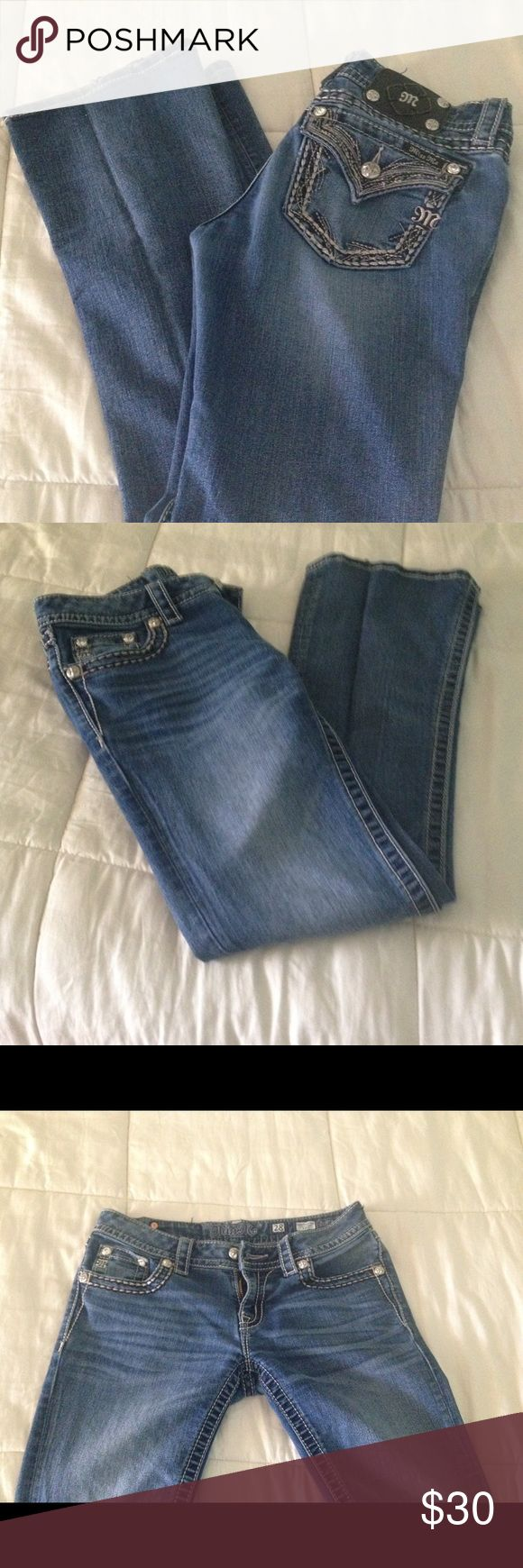 Miss me brand jeans. Boot cut size 28. Purchased these on posh and are to small. They are a lighter denim and in great condition. Missing a rivet on the miss me badge on back. Miss Me Jeans Boot Cut