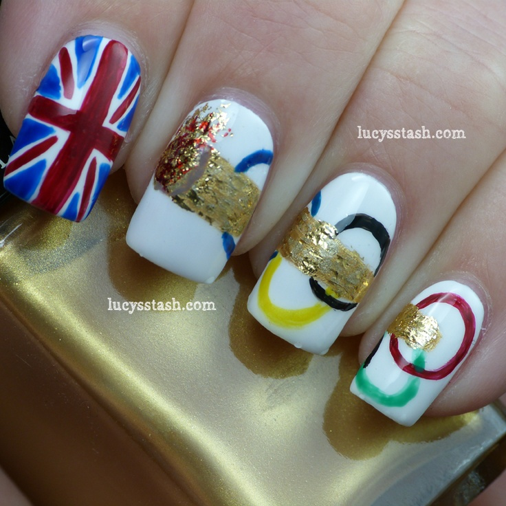 Lucy's Stash: Nail Art  these are so awesome! i can't believe I'll be missing the olympics by a week when i'm in londonLondon Nails, Beautiful Department, Nails Design, Olympics Rings, Olympics Nails, Cool Nails Art, Beautiful Blog, Art Girls, Olympics Design