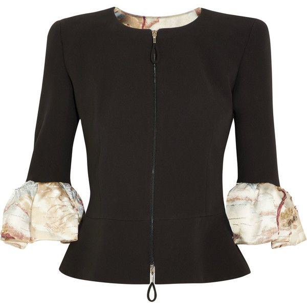 Giorgio Armani Embellished ruffled silk peplum jacket ($6,670) ❤ liked on Polyvore featuring outerwear, jackets, multi coloured jacket, silk jacket, multi colored jacket, zip jacket and beaded jacket