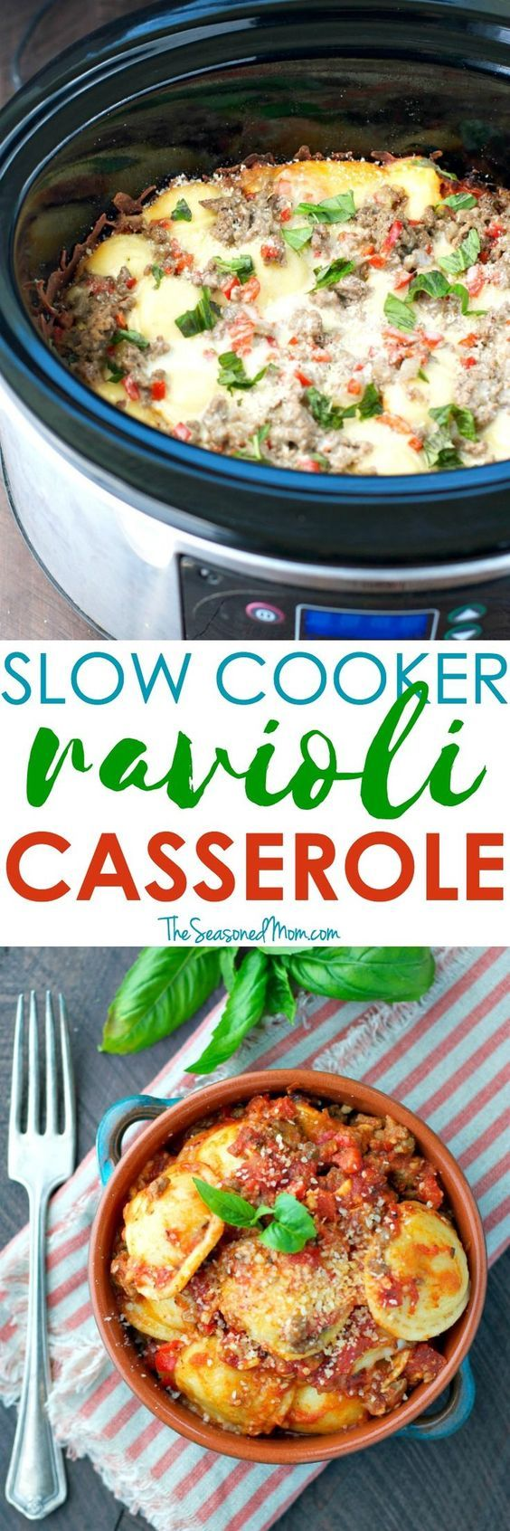 Easy Slow Cooker Recipes like this Ravioli Casserole are a busy mom's best friend! Prep the ingredients ahead of time and a cozy, family-friendly dinner will be ready and waiting for you at the end of the day! #MoreHonestFood #HorizonOrganic #ad @horizono