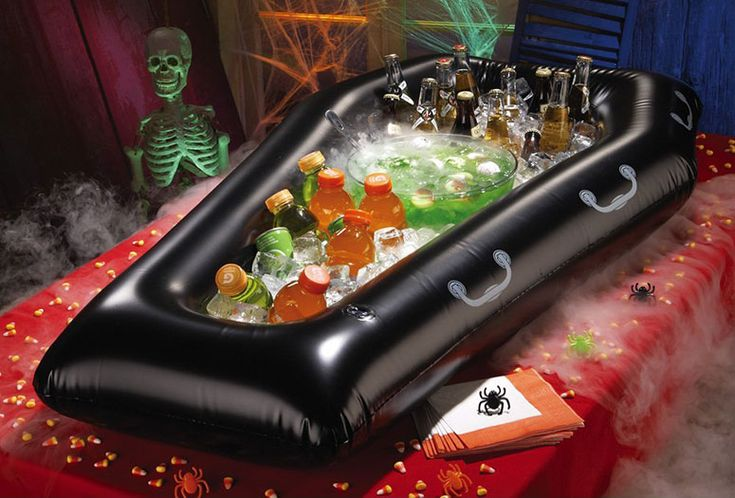 Inflatable Coffin Halloween Cooler / Buffet my mom would love this, Cathy Gibbons !!