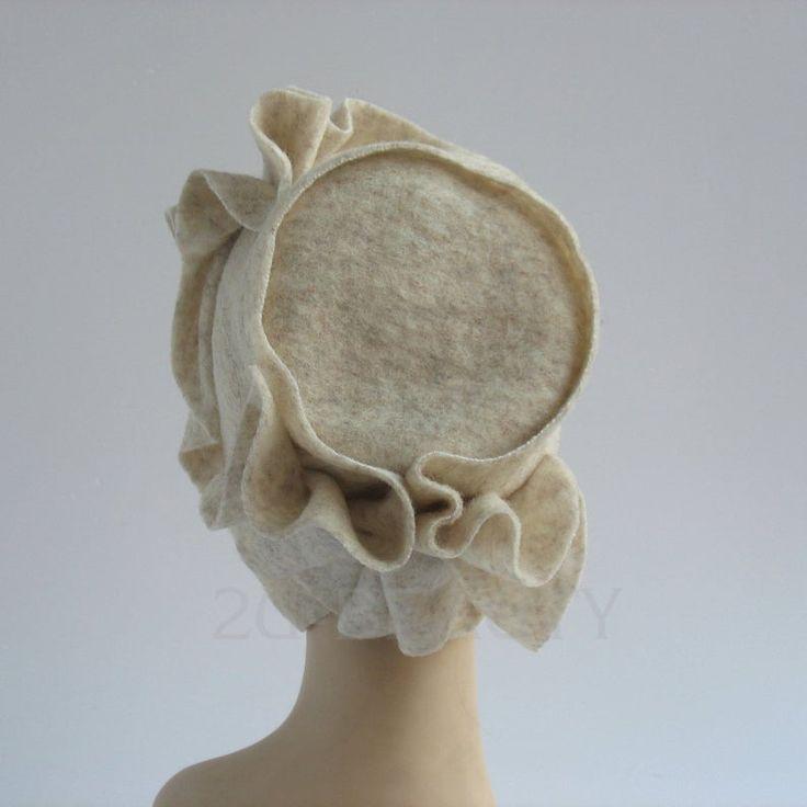Women's Cloche Hat Fall Fashion Fall Accessories 1920s Hat Felt Cloche Hat Felt Hat White Hat 1930s Hat Flapper Hat Great Gatsby Hat Beanie – by hand