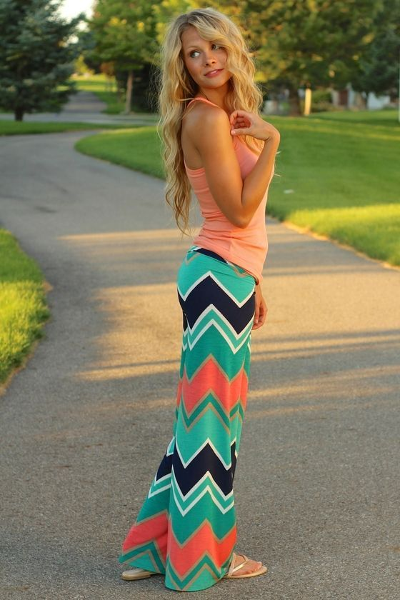 Jaded Chevron Palazzo Pants. We love these for spring fashion. Top coordinates nicely with sandals [ prizeperch.com ]