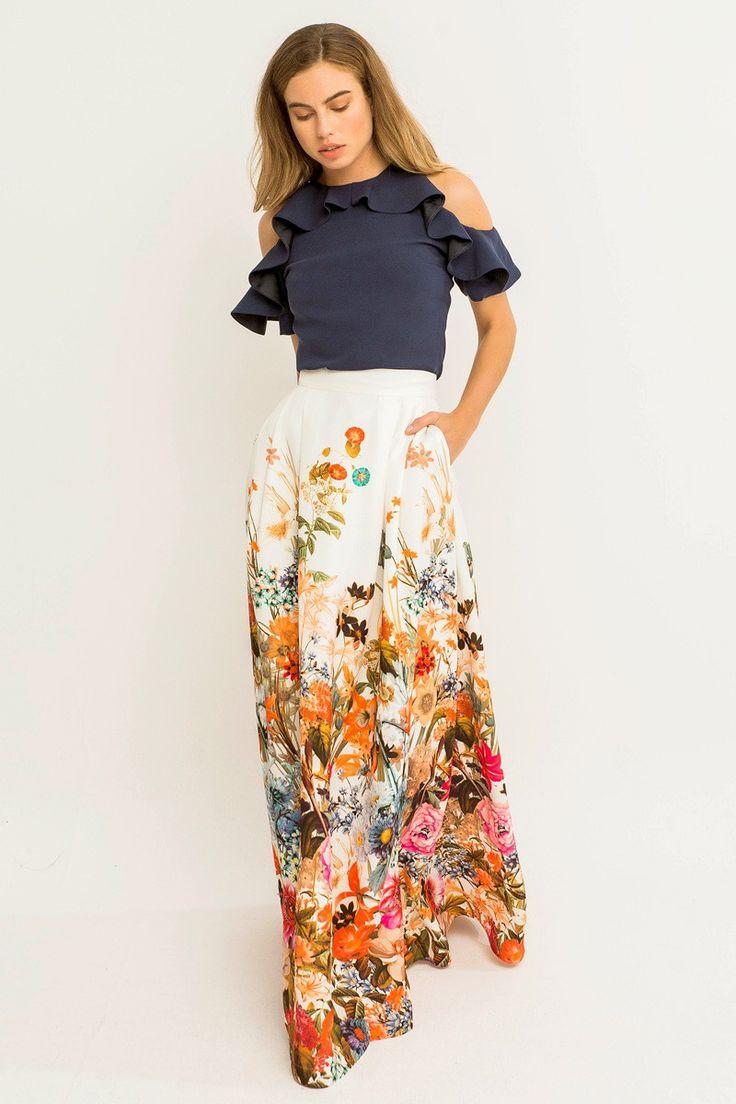 Comprar online maxi falda fluida de crepe estampado de flores tropicales para invitada de boda bautizo comunion evento fiesta graduacion de apparentia collection