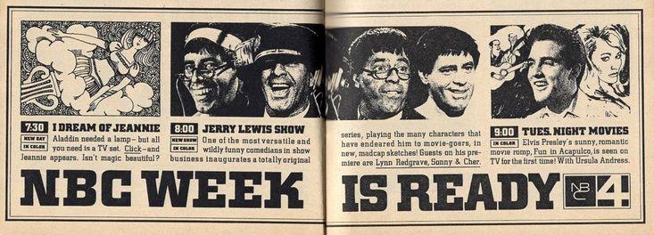 1967 NBC TV AD~I DREAM OF JEANNIE~ELVIS PRESLEY~JERRY LEWIS SHOW~URSULA ANDRESS