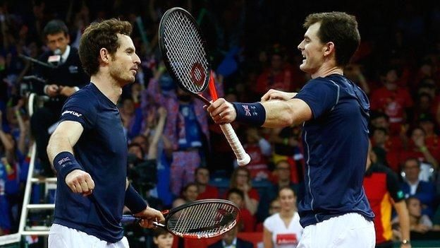 Britain are one win from a first Davis Cup title in 79 years after Andy and Jamie Murray's doubles victory against Belgium.