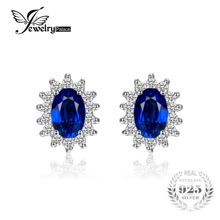 Pure Sterling Silver Blue Sapphire Stud Earrings // Price: $20.95 & FREE Shipping //  We accept PayPal and Credit Cards.    #styles