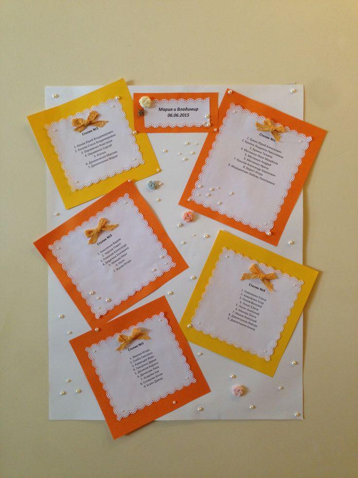 Оранжевая свадьба. План рассадки гостей