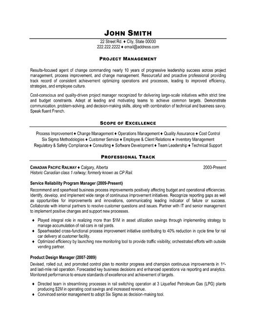 project manager resume sample cover letter construction template word samples for software