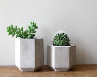 Set of Two Geometric Concrete Planters perfect by MakeAndMatter