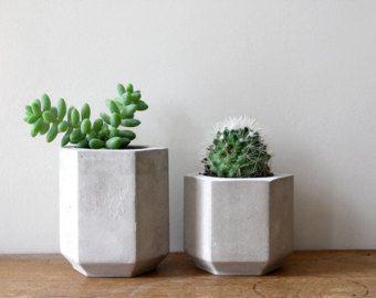 Set di due fioriere di cemento esagono perfetto per un Cactus o succulente / / calcestruzzo portavasi - Handmade