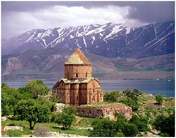 Lake Van, Turkey with the ruined 10th c. Akdamar Church (the Cathedral Church of the Holy Cross)