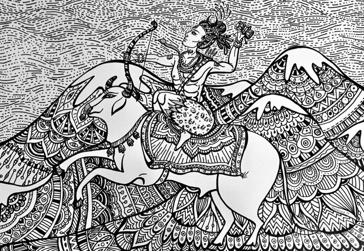 """Shiva and Nandi""  #MariVeselaya #Art #Doodling #Sketch #Shiva #Mahadev #OmNamahShivaya #Nandi"