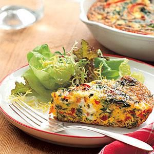 Red bell pepper, red onion, and spinach pack our Vegetable Frittata. Serve Vegetable Frittata for breakfast or dinner--just add a green salad to round out your evening meal.