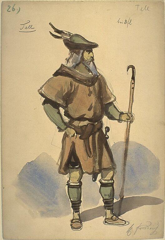 Kostümentwurf für eine männliche Figur aus 'Wilhelm Tell' von Friedrich von Schiller | Franz Gaul | Bildindex der Kunst & Architektur