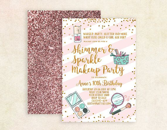 Makeup invitation makeup birthday party invitation Printable
