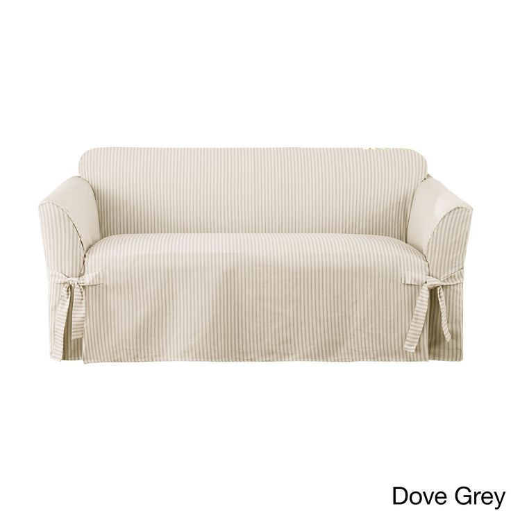 Sure Fit Ticking One Piece Loveseat Slipcover
