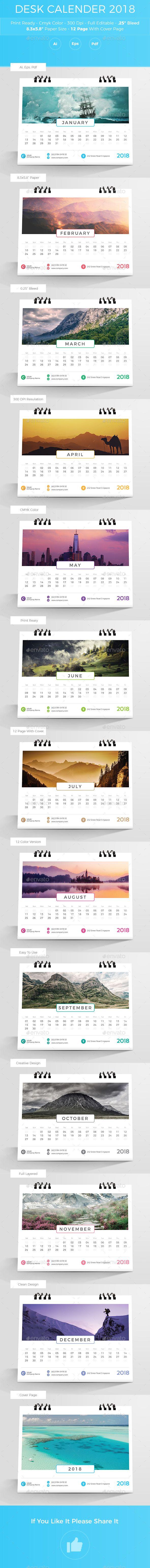 Desk Calender 2018 - #Calendars #Stationery