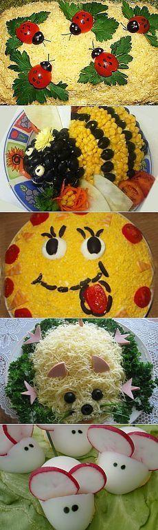 Оформление салатов на детский праздник