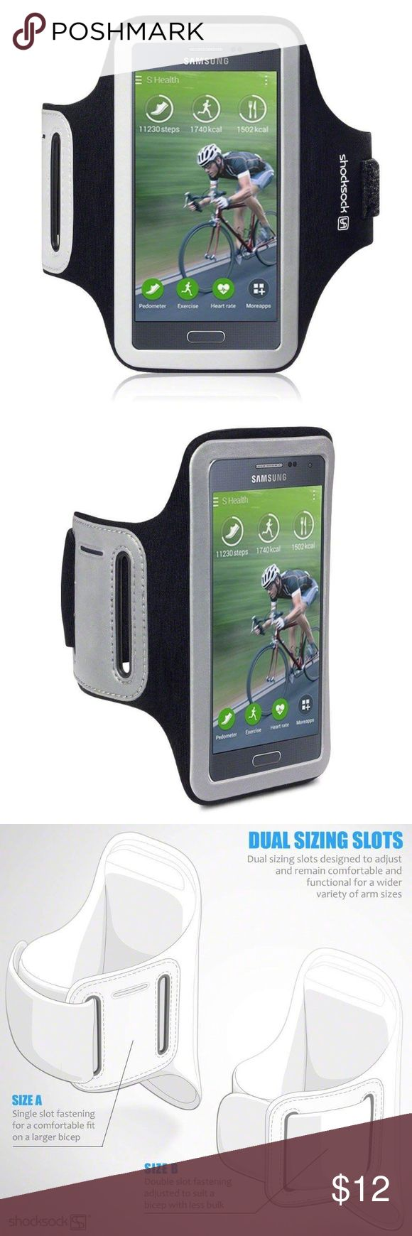 Samsung Galaxy Alpha Shocksock Sports Armband Case Brand new Samsung Galaxy Alpha Shocksock Sports Case Armband with Dual Arm-Size Slots and Key Pocket Accessories Phone Cases