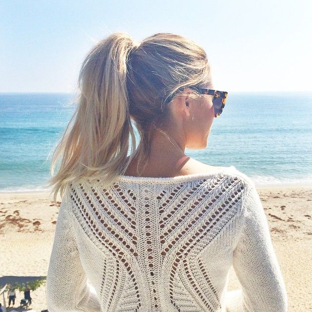 Lauren Conrad wearing an LC Lauren Conrad for Kohl's Sweater at the beach
