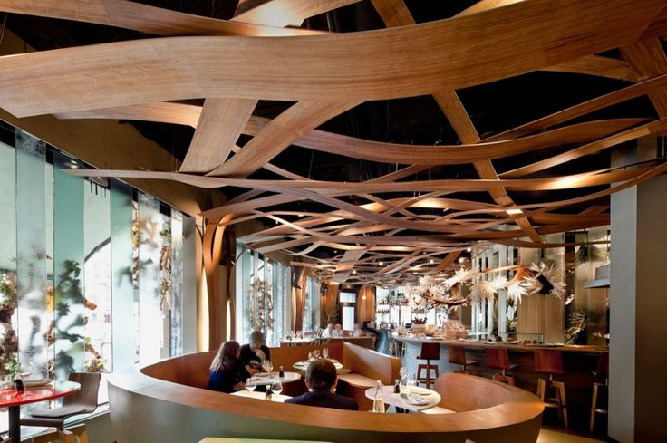 Charming Restaurant Layout in High Aesthetical Design: Fascinating Space Inside The Ikibana With Wooden Benches And Long Wooden Counter Near...