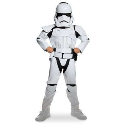 Dress your little dedicated soldier in our Star Wars: The Force Awakens Stormtrooper costume including mask, belt with pouch, bodysuit and 3 swappable pauldrons to indicate rank: Officer, Sergeant, and Squad Leader.