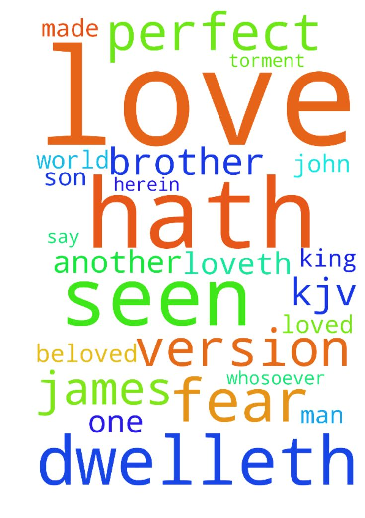 1 John 4:11-21King James Version (KJV)  11 Beloved, - 1 John 41121King James Version KJV 11 Beloved, if God so loved us, we ought also to love one another. 12 No man hath seen God at any time. If we love one another, God dwelleth in us, and his love is perfected in us. 13 Hereby know we that we dwell in him, and he in us, because he hath given us of his Spirit. 14 And we have seen and do testify that the Father sent the Son to be the Saviour of the world. 15 Whosoever shall confess that…