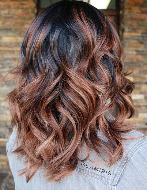 Copper Caramel Balayage Highlights on Dark Hair