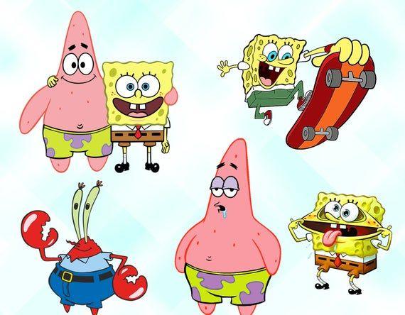 Spongebob Clipart Spongebob Characters Spongebob Png Files Etsy Spongebob Birthday Party Spongebob Background Spongebob Birthday