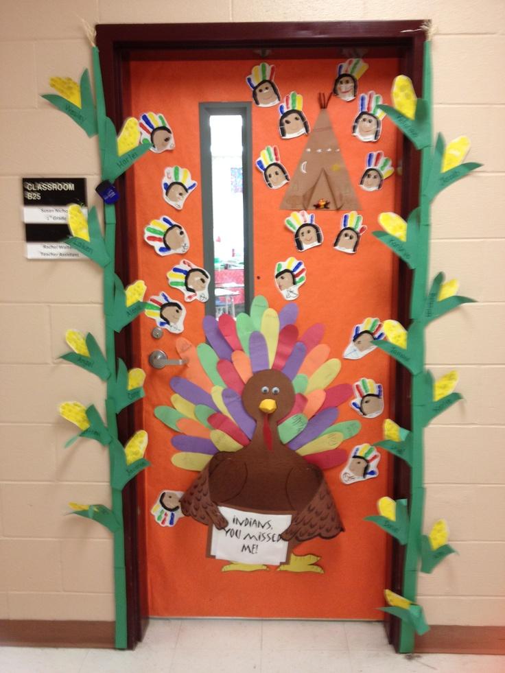 Thanksgiving Door Display Handprint Indian Braves Indian