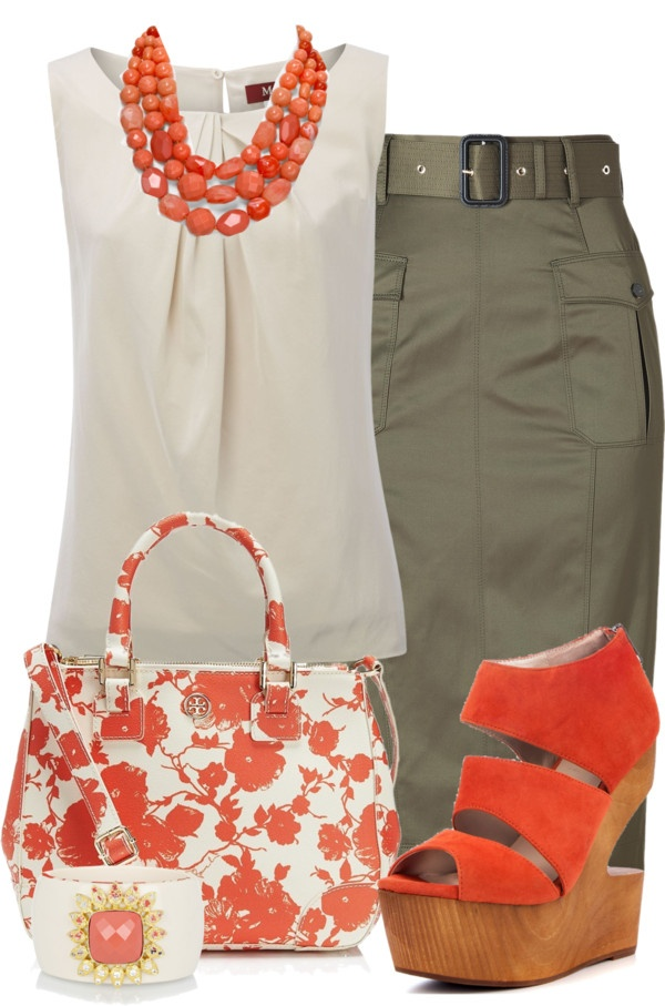 """""""Coral and Olive"""" by glamatarian ❤ liked on Polyvore"""