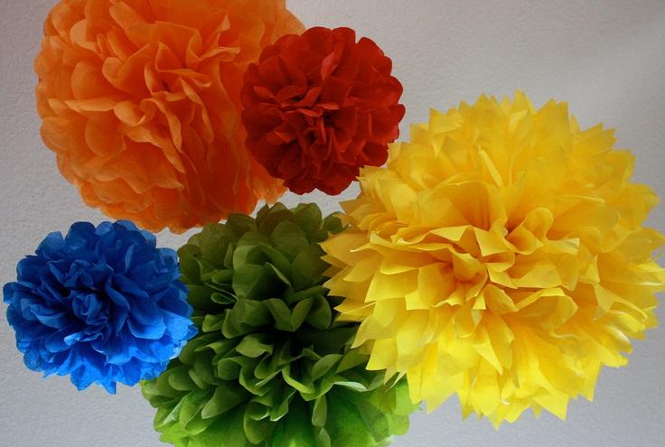 Tissue Pom Poms -Set of 10- Your color choice. $30.00, via Etsy.