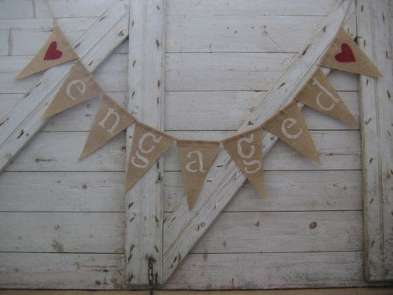 Engaged Banner, Engaged Bunting, Engaged Garland, Engagement Party Decor, Photo Prop, Burlap Banner Bunting, Country, Hessian, Rustic, Barn