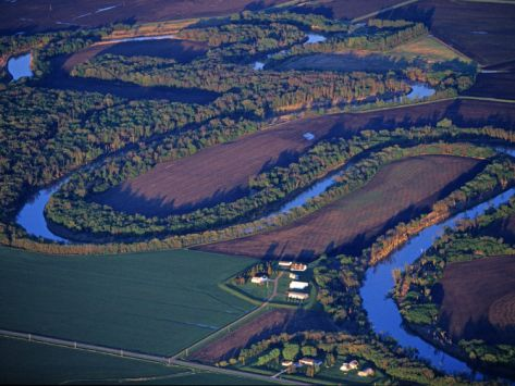 Red River of the North Aerial, near Fargo, North Dakota, USA Photographic Print by Chuck Haney