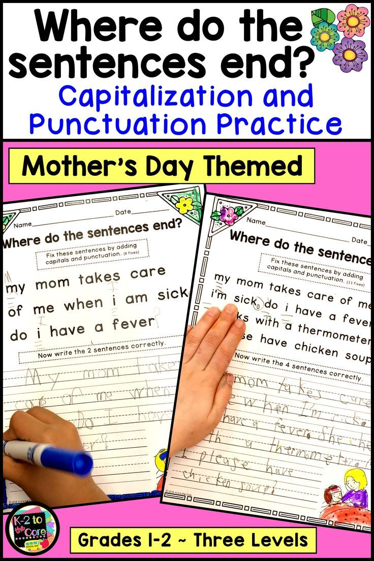 Mother S Day Writing Capitalization And Punctuation Practice In 2020 Punctuation Writing Complete Sentences Writing Activities