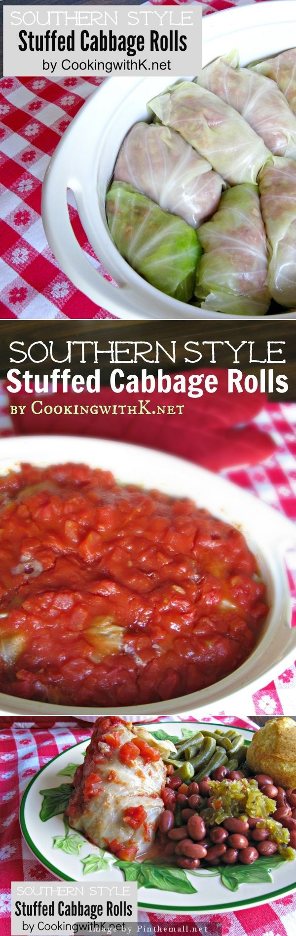 Southern Style Cabbage Rolls {Granny's Recipe} | An old fashioned recipe made with hamburger, rice, onions, and covered in a ketchup diced tomato sauce. | CookingwithK.net