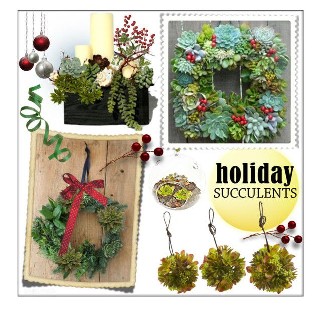 Holiday Succulents! by whirlypath on Polyvore featuring interior, interiors, interior design, home, home decor, interior decorating and Nearly Natural